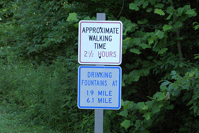 Shaker Trace Trail Outer Loop June 2015 Counterclockwise, this estimated time sign is at the entrance to the Outer Loop.  The walking speed would be about 3 MPH.