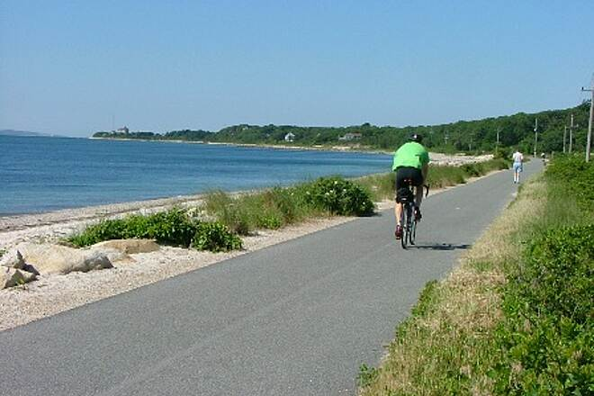 Shining Sea Bikeway Along the beach to Woods Hole Nobska Point and lighthouse can be seen in the distance.