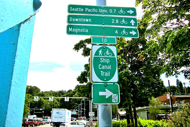 Ship Canal Trail Ship Canal Trail Trail sign at south end of the Fremont Bridge