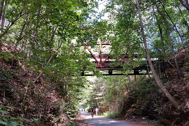 Silver Comet Trail Smyrna Heritage park area  Lots of shade but LOTS of people,  very busy area of trail