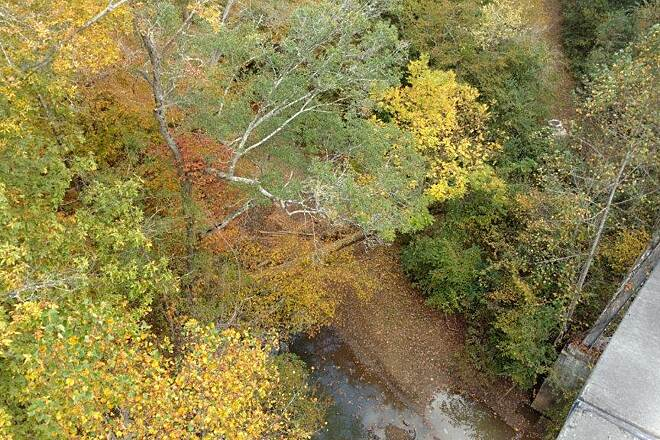 Silver Comet Trail Looking Over Overlook Silver Comet Trail, looking down from the Overlook trestle. View from the top.  Fall 2016, Photo: Carol Maher