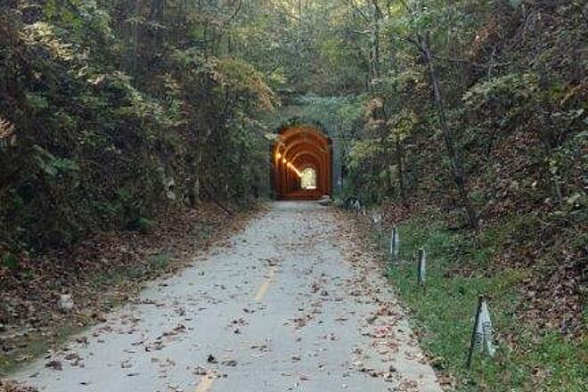 Silver Comet Trail Brushy Mt. Tunnel One of the high points of riding the Silver Comet Trail is the Brush Mountain Tunnel.  Picture yourself on the high speed train barreling it's way through Brushy Mt. Tunnel on it's way to Atlanta GA. Photo: Carol Maher