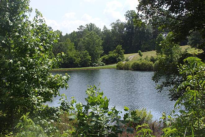 Silver Comet Trail Lake at Mile Marker 25.8 View of a private lake south of the trail near mile marker 25.8