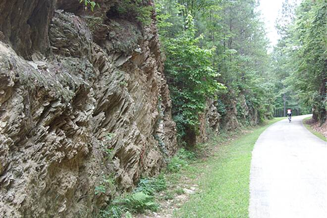 Silver Comet Trail Rock Cliffs One of the many rock faces east of Bushy Mountain Tunnel