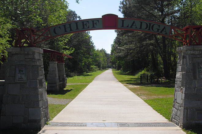 Silver Comet Trail Sliver Comet at Alabama border The Gateway Arch from the Georgia side showing the Chief Ladiga Trail.