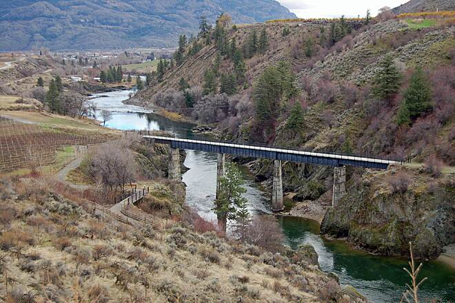 Similkameen Trail The 375 foot RR bridge crosses the Similkameen 86 feet above the river.  Rebuilt in 2009 it now serves  trail users. Image and description provided by Ted Murray.