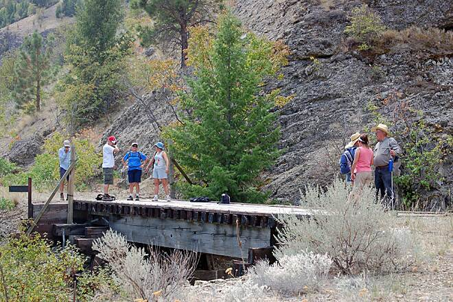 Similkameen Trail Hikers pause below the Devils Washbasin Image and caption provided by Ted Murray