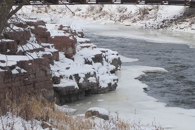 Sioux River Red Rock Trail Winter at the rapids
