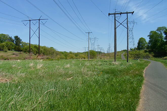 Skippack Trail Skippack Trail Trail sharing the corridor with six sets of powerlines.