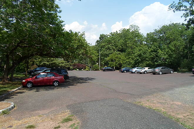 Skippack Trail Skippack Trail This parking lot doubles as both a space for the nearby Japanese restaurant and a trailhead.