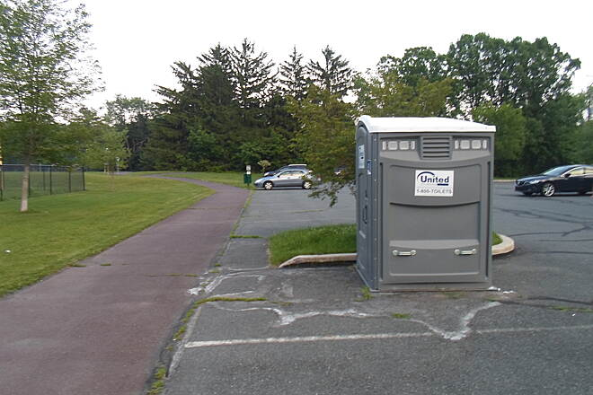 Skippack Trail Skippack Trail One of the drawbacks to the Skippack Trail is the lack of amenities; there are no benches or restroom facilities along the trail outside Palmer Park. This chemical toilet is on the south side of Palmer Park.