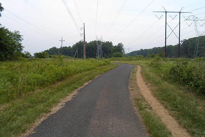 Skippack Trail Skippack Trail The powerline corridor splits in two near Evansburg State Park.