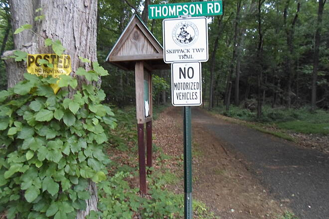 Skippack Trail Skippack Trail Sign with the official logo for the trail at the eastern terminus with Thompson Road. Unfortunately, the map on the kiosk is small and difficult to read. Taken June 2015.