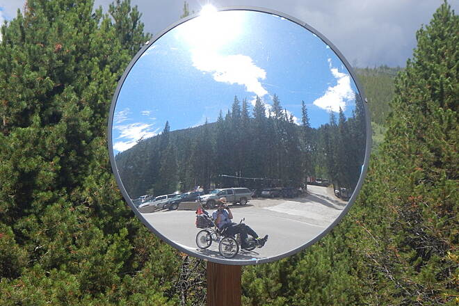 Snake River Recpath Twirlymaker in Mirror Just before parking area for Keystone Ski School.  Noel Keller 2 Sep 15