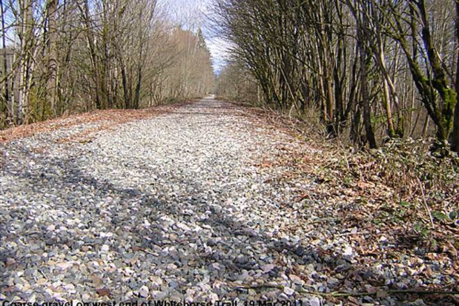 Snohomish County Centennial Trail Whitehorse Trail, west end Coarse, loose gravel