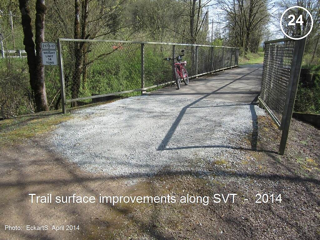 Snoqualmie Valley Trail Snoqualmie Valley Trail The surface of the SVT is in very good shape.  Here some uneven spots at the approaches to bridges have been leveled by adding some gravel.