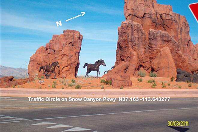 Snow Canyon Trail Snow Canyon Trail Sculptures in Traffic Circle on Snow Canyon Pkwy