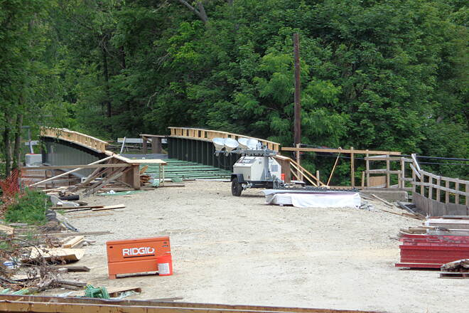 Southern New England Trunkline Trail View south across Main St. View south across the new Main St. Bridge, Blackstone, now set in place 6/20/15