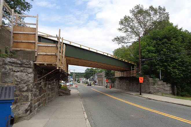 Southern New England Trunkline Trail Main St. bridge looking east View looking east at the new Main St. bridge now set in place, 6/20/15