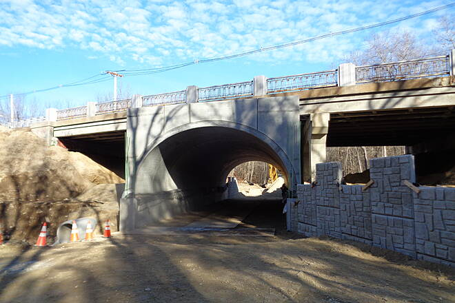 Southern New England Trunkline Trail Rte. 126 Tunnel New tunnel under construction to replace the Rte. 126 bridge. View looking east on 12/11/15.