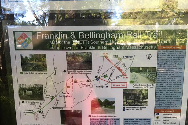 Southern New England Trunkline Trail Trail Map Franklin & Bellingham section Photo of trail map posted on bulletin board in Franklin.  Shows route in Franklin & Bellingham.