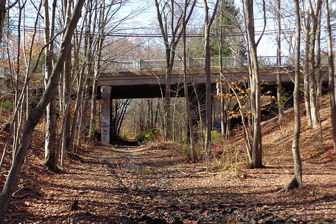 Southern New England Trunkline Trail Rte. 122 bridge, Bellingham This is looking west at the current Rte. 122 bridge in Bellingham, MA on 11-8-14. This bridge is soon to be replaced by a tunnel.