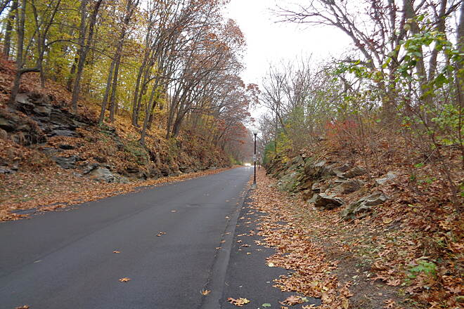 Southern New England Trunkline Trail Castle Hill Way rock cut Looking E along Castle Hill Way in Blackstone on 11/16/14 through the rock cut. The ROW is now occupied by the entrance driveway. The Mass DCR holds a legal easement here, and the developer was to provide a guardrail between sidewalk & roadway.