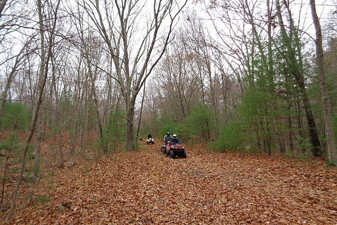 Southern New England Trunkline Trail ATVs illegally on the SNETT A group of ATVs coming east along the SNETT just west of Rte. 146 on 11/16/14. This activity is illegal and needs correction.