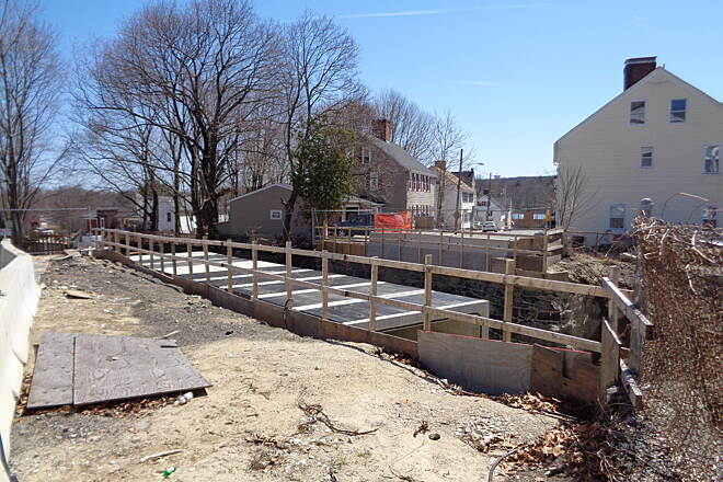 Southern New England Trunkline Trail Church St tunnel Blackstone View southeast across top of newly installed precast Church St. tunnel on 4/12/15.