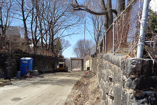 Southern New England Trunkline Trail View of new tunnel, Blackstone View west from Old Mendon Road into newly installed precast tunnel at Church St. on 4/12/15.