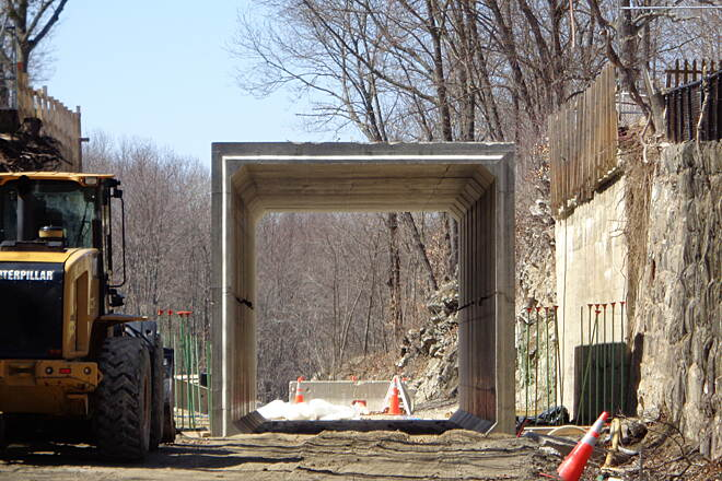 Southern New England Trunkline Trail Zoom of new Church St tunnel Zoom shot into new Church St. tunnel from Olf Mendon Road, Blackstone on 4/12/15