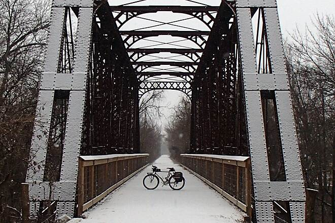 Southwind Rail Trail Snow on the Trestle The first snow of the season gave a light dusting to the old trestle over Elm Creek on the Southwind Rail Trail near Iola, Kansas.