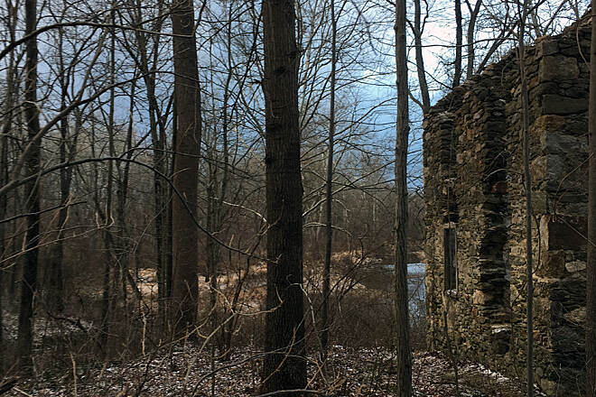 Springlawn Trail Stone ruins by Big Elk Creek An abandoned house watches over the creek