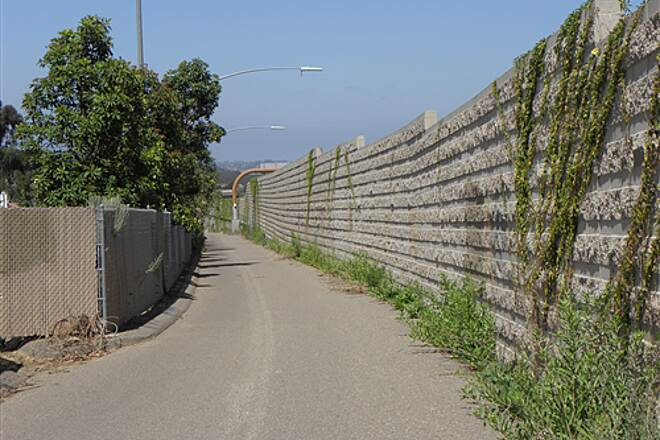 State Route 56 Bike Path  Sound abatement wall reduces highway noise in residential area.