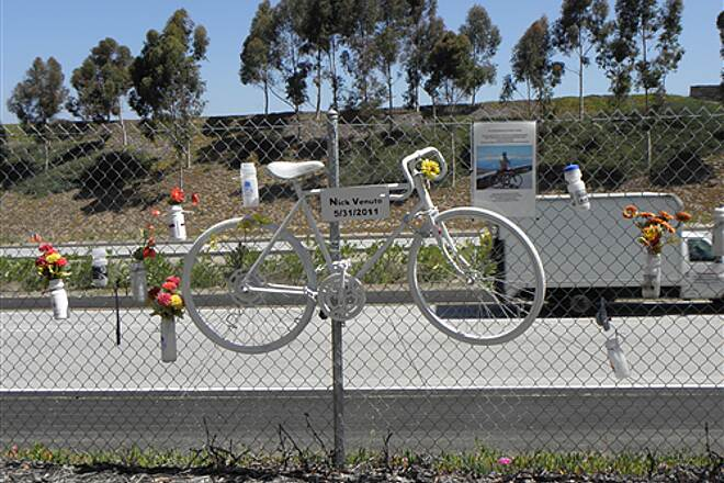 State Route 56 Bike Path  Memorial to cyclist killed on the trail when an out-of-control car left the highway and crashed upside down on the bike path.