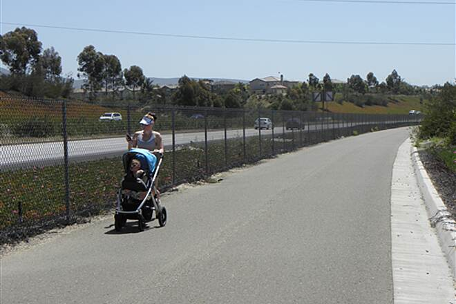 State Route 56 Bike Path  Mothers with strollers are not uncommon on the trail.