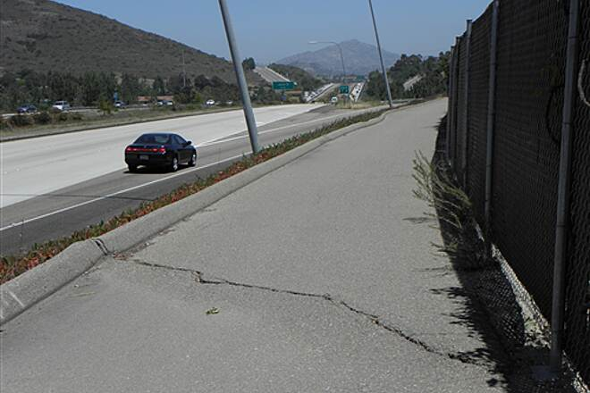 State Route 56 Bike Path  Watch out for occasional bumps like this on the eastern portion of the trail.