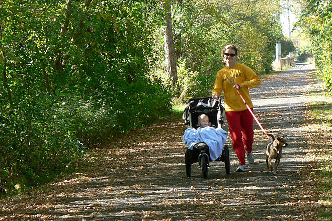 Straight River Trail Multi-Tasking on the Straight River Trail Walk the dog and push the stroller too...all while enjoying the colors of autumn and getting some fresh air and exercise on the Straight River Trail! Photo by Jeff Jarvis