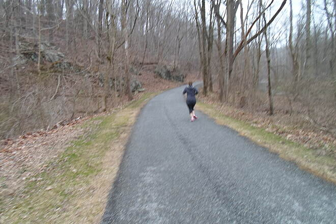 Struble Trail Struble Trail Jogger rounding a bend on the northern portion of the trail. Taken April 2015.
