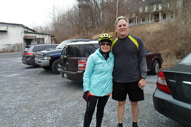 Struble Trail Struble Trail Cyclists getting ready for an evening run in early spring. Taken April 2015.