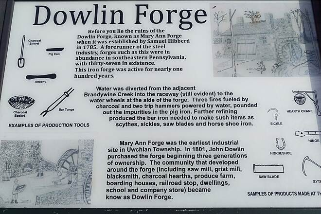 Struble Trail Dowlin Forge Ruins Sign at the Dowlin Forge ruins