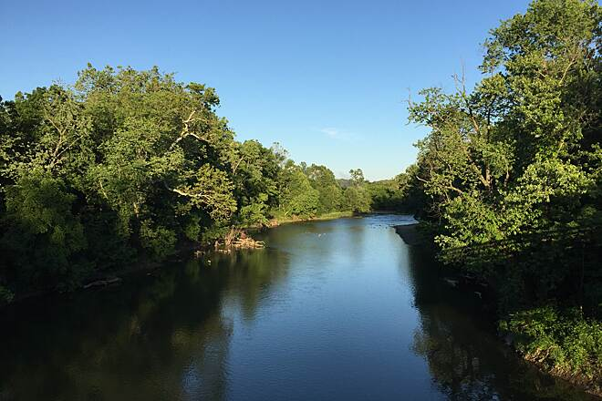 Sugar Creek Trail High Atop Sugar Creek June 2016...Taken from the old railroad bridge above Sugar Creek, Crawfordsville, IN.