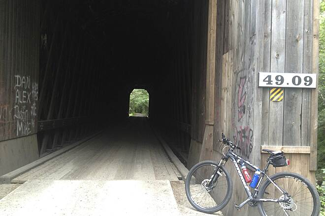 Sugar River Trail Second covered bridge Second covered bridge heading East to Newport. Sadly, taggers have been at work some, as can be seen in the photo.