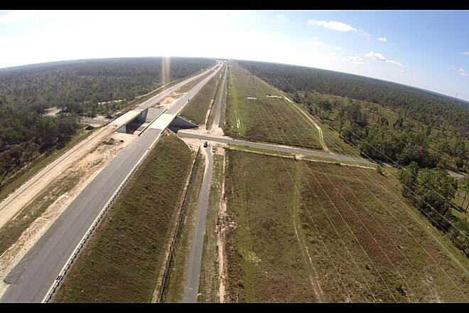 Suncoast Trail North trail extension Captured a few aerial shots of the Suncoast Trail extension from my drone this morning.   There are taken at the SE corner of the Southern Woods Golf Course on W. Oak Blvd right where the tollway extension is progressing.
