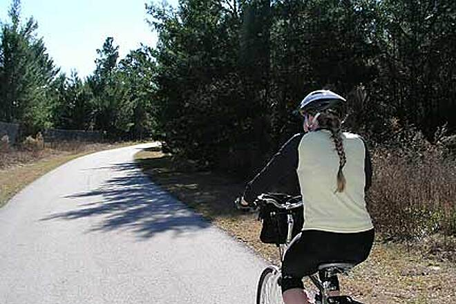 Suncoast Trail Pretty section near northern terminus Kelli riding along in one of the newer (and more scenic) sections