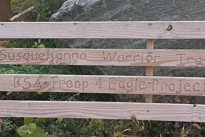 Susquehanna Warrior Trail Boy Scout Project A bench along the trail.