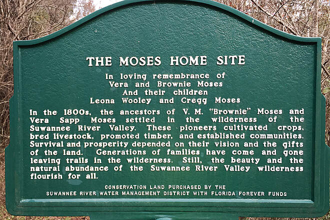 Suwannee River Greenway at Branford Moses homesite sign