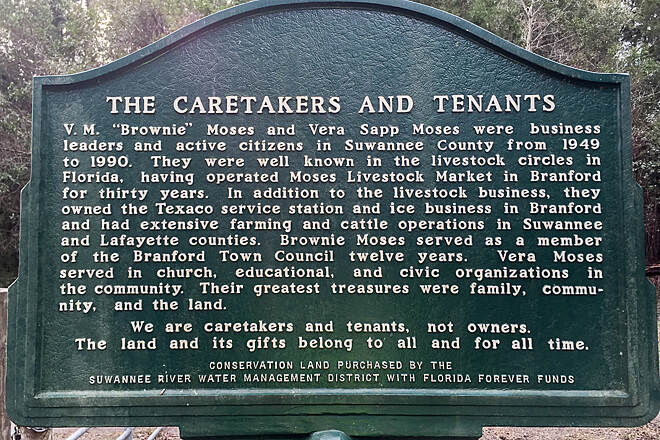Suwannee River Greenway at Branford Caretakers and tenants