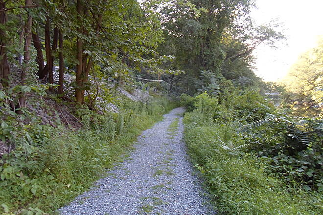 Swatara Rail-Trail Swatara Rail-Trail The trail may be narrow and the stone surface coarse, but it is a huge improvement over the dirt and ballast surface a few years back. Taken Aug. 2015.