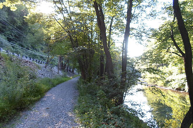 Swatara Rail-Trail Swatara Rail-Trail Two modes of transportation, road, represented by Route 72 on the left, and trail, in the middle, can be seen in this pic. Two more, the railroad and canal, once existed, but are now long gone. Taken Aug. 2015.